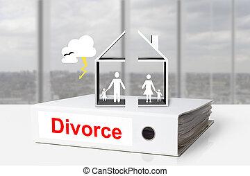 bureau, relieur, maison, divisé, divorce, famille, orage
