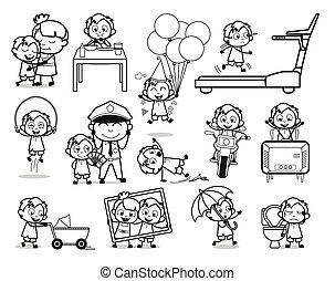 bureau, retro, concepts, vecteur, type, illustrations, -, ensemble, dessin animé