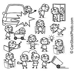 bureau, retro, concepts, vecteur, type, illustrations, -, ensemble, divers, dessin animé