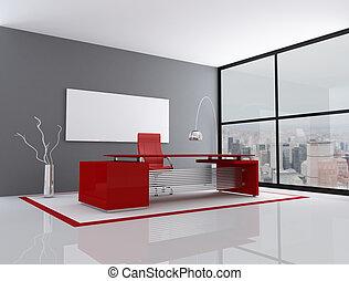 bureau, rouges, gris, ville