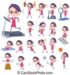 bureau, rouges, lunettes, women_exercise