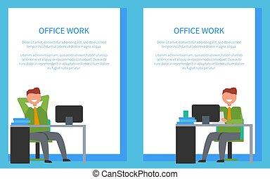 bureau, séance, chaises, ouvriers, devant, table