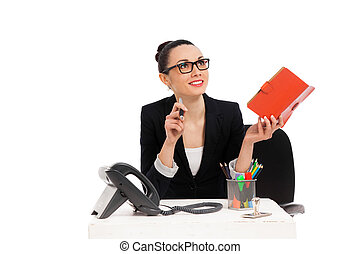 bureau, séance, femme affaires, écriture, cahier, chaise