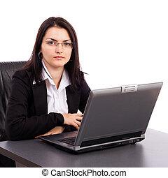 bureau, séance, femme affaires, jeune, bureau, sérieux
