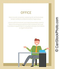 bureau, séance, ouvrier, devant, table, chaise