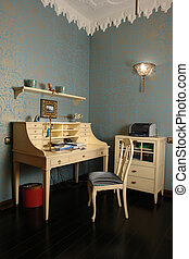 bureau, salle, intérieur maison