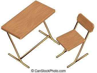 bureau scolaire, chaise, enfants