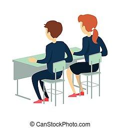 bureau scolaire, deux, pupille, séance