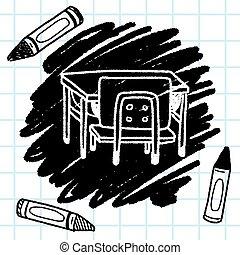 bureau scolaire, griffonnage