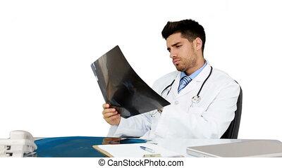 bureau, sien, jeune, fonctionnement, docteur
