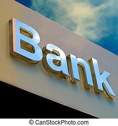 bureau, signe, banque