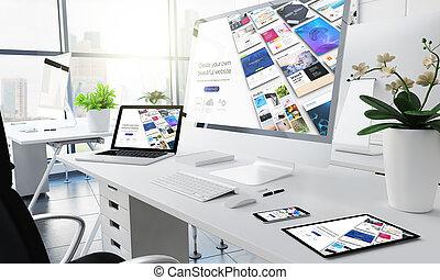 bureau, site web, constructeur, sensible, appareils