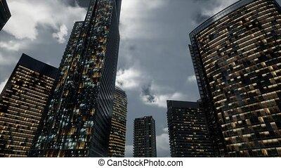 bureau, skyscrpaer, verre, sombre, bâtiments, ciel