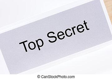 bureau, sommet, étiquette, top secret, dossier, blanc