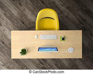 bureau, sommet, rendre, intérieur, 3d, vue