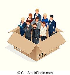bureau, staff., isolated., concept., equipe affaires, ...