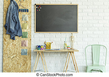 bureau, stoel, osb, plank, bord