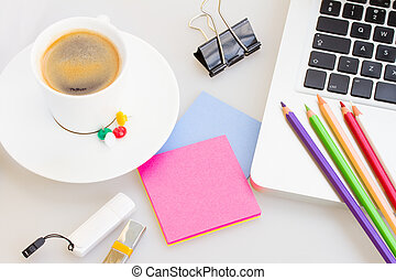 bureau, suply, tasse, ordinateur portable, café