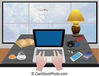 bureau, symbole, main, équipement, vecteur, conception