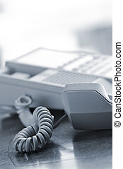 bureau, téléphone, fermé, crochet