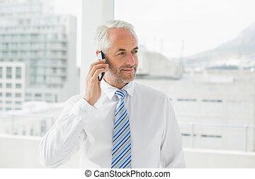bureau, téléphone portable, mûrir, homme affaires, utilisation