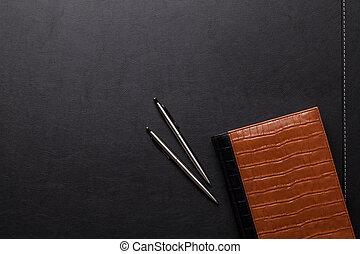 bureau, table, à, bloc-notes, stylo, crayon