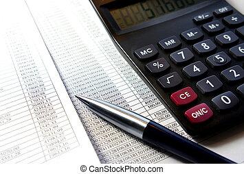 bureau, table, à, calculatrice, stylo, comptabilité, document