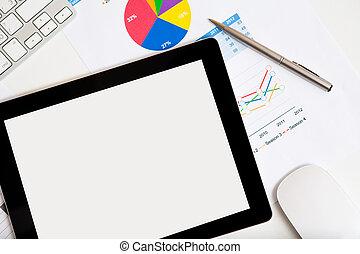 bureau, tablette, homme affaires