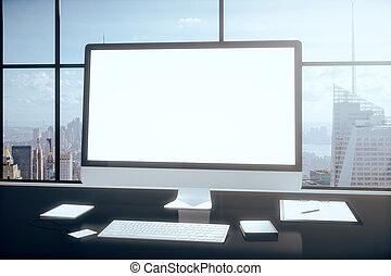 bureau, tablette, ordinateur bureau, vide, table, smartphone, autre, accesories