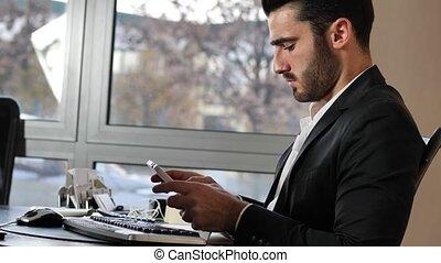 bureau, tablette, regarder, ouvrier, pc, lieu travail
