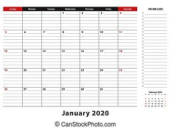 bureau, tampon, janvier, semaine, 2020, a3., taille, ...