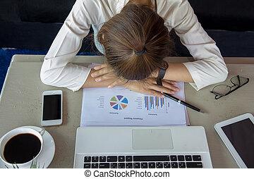 bureau, tension, donner, work., mal tête, soulager, ...