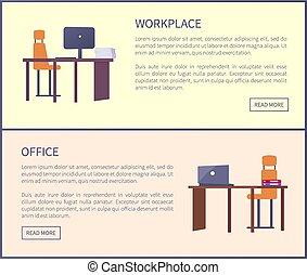 bureau, texte, boutons, lieu travail, poussée, pages