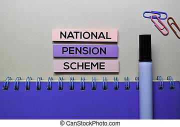 bureau, texte, national, isolé, collant, pension, bureau, plan, notes