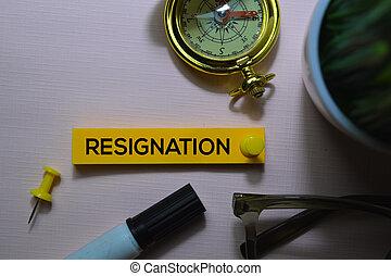 bureau, texte, notes, isolé, collant, bureau, démission