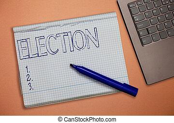 bureau, texte, projection, organisé, signe, election., conceptuel, démontrer, photo, vote, choix, politique, formel