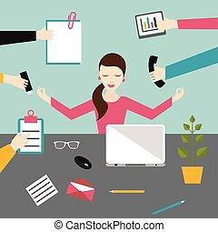 bureau., travail, concept., méditation, plat, femme affaires...
