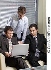 bureau, travailler hommes, latop, business, 1, jeune