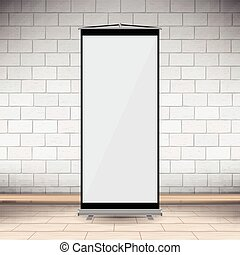 bureau, vecteur, mur blanc, vertical, toile, brique, projecteur