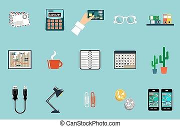 bureau, vecteur, objects., ensemble, équipement, choses, plat