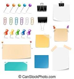 bureau, vecteur, papier, fournitures, epingles, clips, note, papers., classeurs
