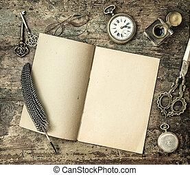 bureau, vendange, encrier, livre, fournitures, stylo plume, ouvert