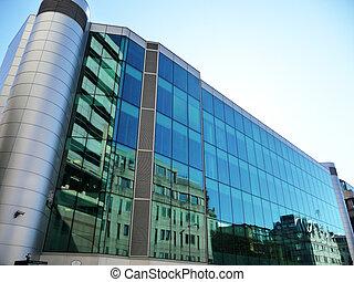 bureau, verre, réflecteur, bâtiment