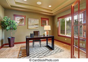 bureau, vert, maison luxe, intérieur, paint.
