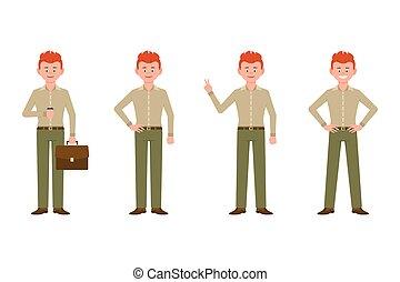 bureau, victoire, devant, caractère, illustration., garçon, ...