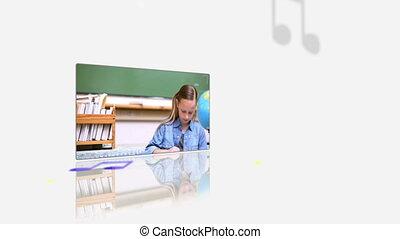 bureau, vidéos, leur, élèves