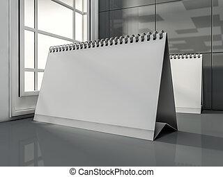 bureau, vide, calendrier, dans, les, moderne, interior., 3d