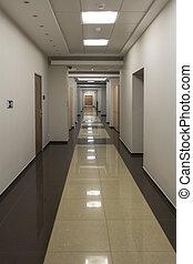 bureau, vide, couloir, long