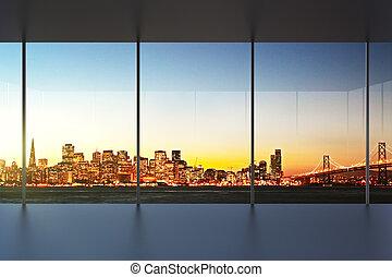 bureau vide, intérieur, à, coucher soleil, à, beau, vue
