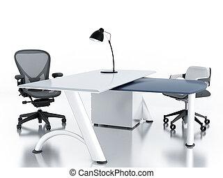 bureau vide, salle, à, table, et, fauteuils